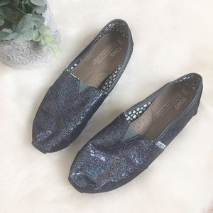 [Toms] Navy Glitter Flat Loafers